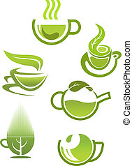 Green tea cups symbols for restaurant or cafe design
