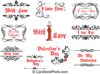 Calligraphic elements with love and valentines details for...