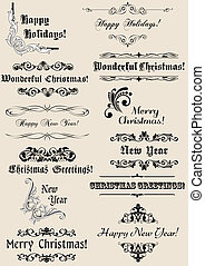 Vintage Christmas and New Year headers with calligraphic...