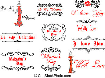 Valentine's Day elements and decorations