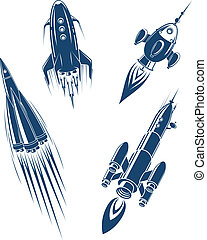 Space ships and spacecrafts set in cartoon style