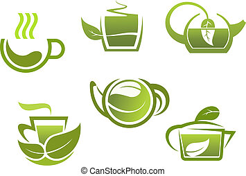 Green tea symbols set for restaurant or beverage design