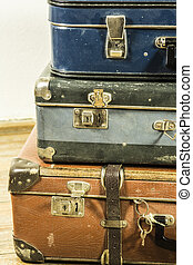 old suitcase - beautiful old blue and brown suitcases -...