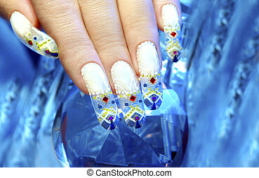 Winter nails. - Aquarium design nail in the festive winter...