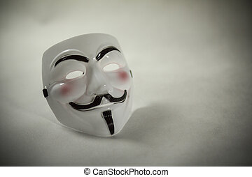 Anonymous mask - white anonymous mask on white background