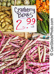 Cranberry Beans in farmers market, Seattle, Washington