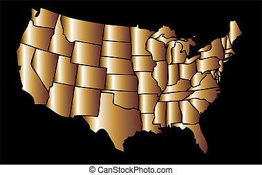 american golden map eps8 vector art