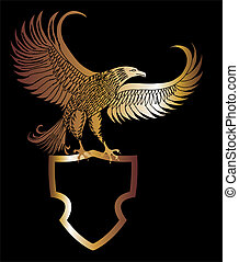 gold eagle shield vector art