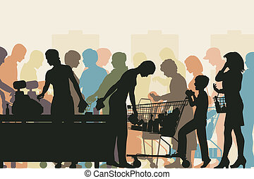 Supermarket checkout - Editable vector colorful illustration...