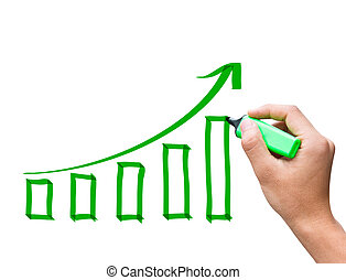Male hand drawing a growth chart