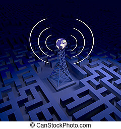 Network station - Abstract wireless background, network...