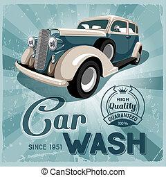 Auto service retro poster Grungy style vector design