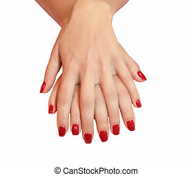 Young woman hands with red manicure over isolated white...