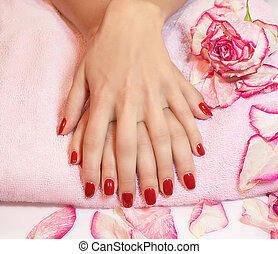 Young woman hands with red manicure rose