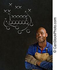 Industrial, trabalhador, Jogo, pretas, plano, africano, homem