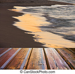 Empty wooden deck floor over sea and sunset background
