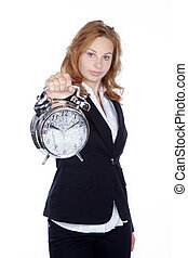 businesswoman with clock - business woman pointing at clock