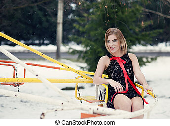 Winter fashion - Attractive model in fashion dress in winter...