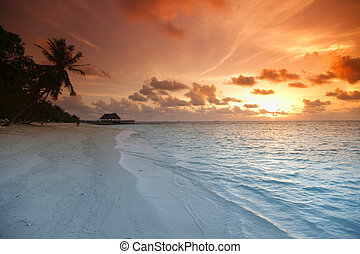 Sunset on beach - Beautiful view of sea and empty beach with...