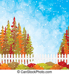 Autumn garden with bushes and fence.Vector
