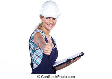 construction supervisor showing thumbs up
