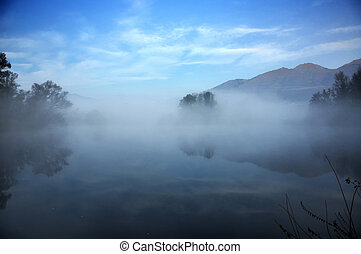 Trees reflected on a lake with mountain and fog