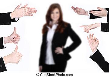 executiva, aplaudindo, mãos