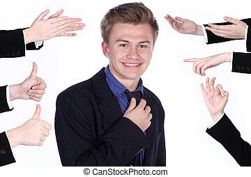 aplaudindo, Homens negócios, mãos