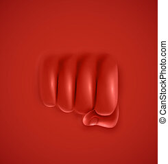 The punch - Fist on red background, punch, eps 10