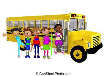 Schoolchildren 3d and schoolbus