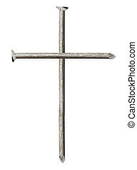 Cross made of nails isolated on white background