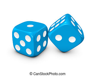 blue dice on white background - blue dice isolated on white...