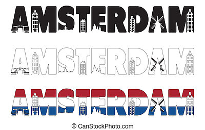 Amsterdam word with skyline including within