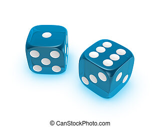 translucent blue dice on white background - blue translucent...