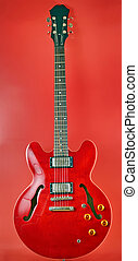 red electric guitar shoot in studio