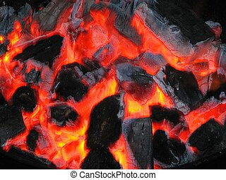 charcoals - ready barbecue charecoals in the grill waiting