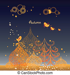 Autumn background with leaves ,birds and trees