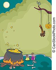 Halloween Cauldron - Halloween Illustration of a Cauldron...