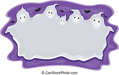 Halloween Ghost Frame - Halloween Illustration of a Frame...