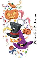 Halloween Party Elements - Illustration Featuring Famous...