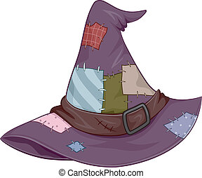 Witch Hat - Illustration of a Tattered Witch Hat Covered in...