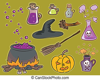Witchcraft Design Elements - Illustration Featuring Famous...