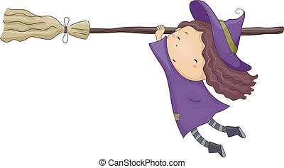 menina, feiticeira, cabo vassoura
