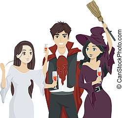 Teens Halloween Party - Illustration of Teenagers Wearing...