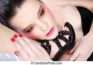 mulher, moda, sapato, bonito