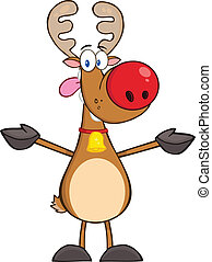 Happy Rudolph Reindeer With Open Arms