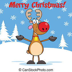 Greeting With Rudolph Reindeer - Merry Christmas Greeting...