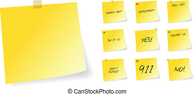 Yellow Post It Sticky Notes With Different Messages Vector...
