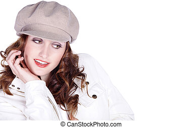 pretty woman in fashion with hat