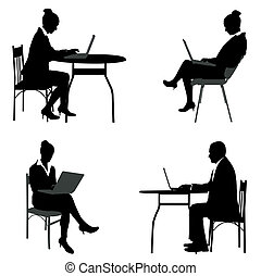business people working on their laptops silhouettes -...